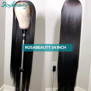 Image 1 - Rosabeauty 28 30 polegada frente do laço perucas de cabelo humano preplucked peruano em linha reta 250 densidade peruca frontal preto