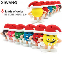 Usb flash drive 64gb usb 32gb pen drive 16gb pendrive 128gb usb 2,0 de 8gb 4gb M & m Chocolate Sr. Bean regalo de Navidad dibujos animados(China)