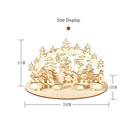DIY Christmas Wooden Toy Xmas Funny Party Desktop Decoration Christmas Wooden Ornaments Three-dimensional Kids Toy Decoration 6