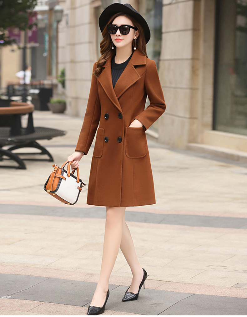 Woolen Women Jacket Coat Long Slim Blend Outerwear 2019 New Autumn Winter Wear Overcoat Female Ladies Wool Coats Jacket Clothes 4
