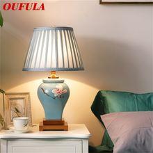 Керамические настольные лампы oufula синий роскошный латунный