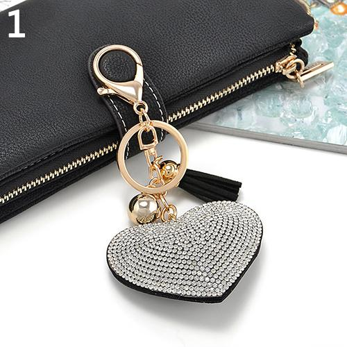 Cute Style Rhinestone Key Chain Heart Shape Pendant Handbag Keychain Bag Keyring Best Chirstmas Birthday For Women Girls