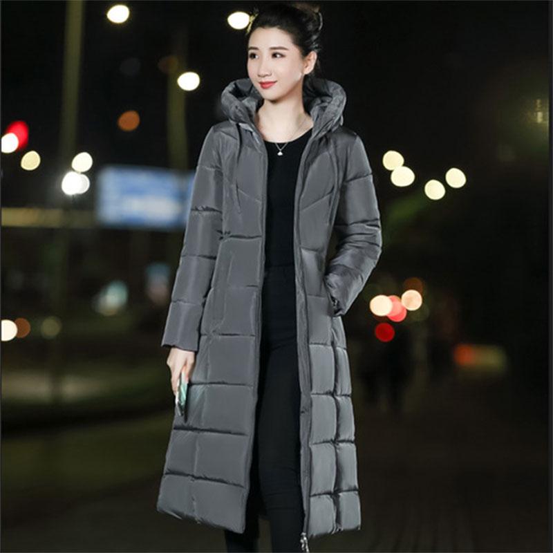 Solid Long Hooded Thick Slim Down Coat Women Long Sleeve Zipper Pockets Jackets Female Fashion Elegant Outwears M-6XL Plus Size