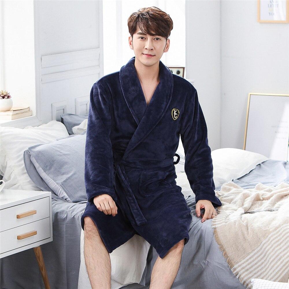 Plus Size 3XL Robe Men Kimono Gown Coral Fleece Ultra Thicken Sleepwear Nightgown Warm Winter Full Sleeve Home Clothing Pajamas