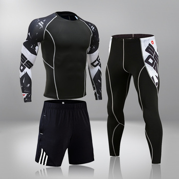 High-End Men's Brand Sports Riding 3 Set MMA Tactical Leggings Solid Color Clothing Compression Fitness Long Johns Winter Suit 2