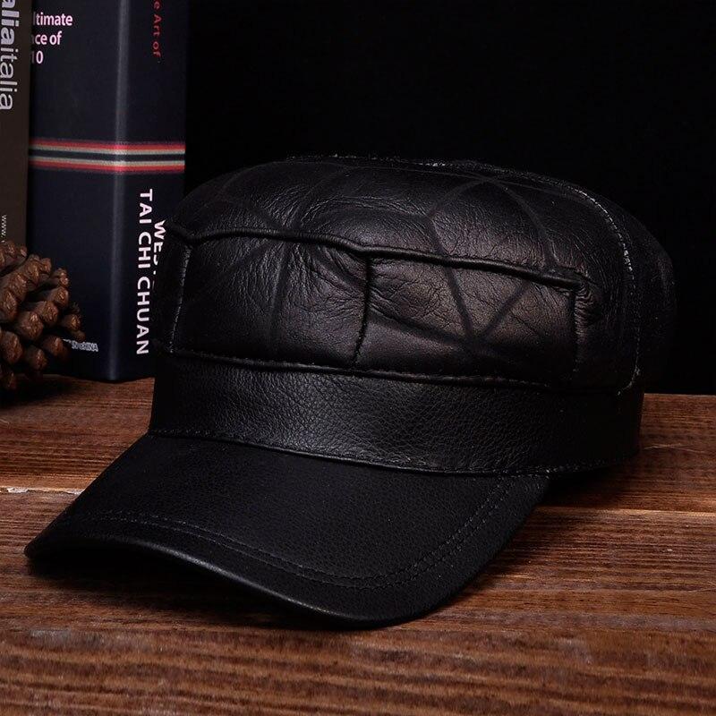 HL115 2019 hiver chaud russe vieux hommes un béret de fourrure armée oreille rabat chapeaux avec fausse fourrure à l'intérieur en cuir véritable casquette de baseball chapeau