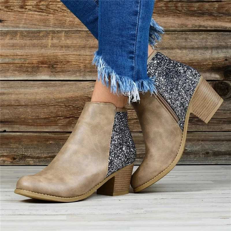 WENYUJH ผู้หญิงฤดูใบไม้ร่วงฤดูหนาวรองเท้า Pointed Toe รองเท้า Patchwork Sequined รองเท้าหัวเข็มขัดสแควร์ส้นรองเท้า Wedges รองเท้า