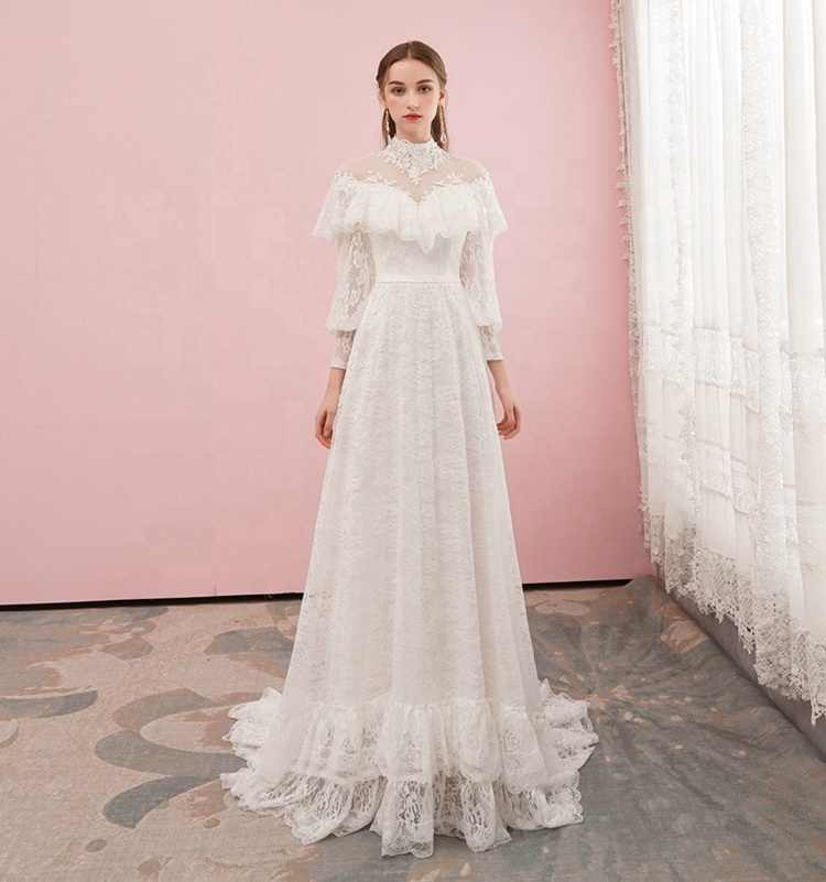 Alilove Bohemian/A Line/High Neck/Ivory/Simple/New/Style/Illusion/Big Size/Bride Wedding Dress With Sleeves/Lace/Women/Luxury
