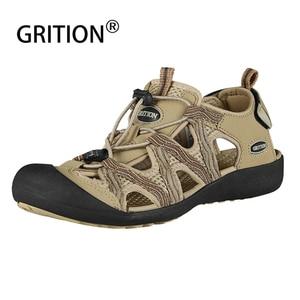 Image 2 - GRITION Women Sandals Flat Casual Outdoor Toecap Protective Trekking Non slip Shoes Comfort Wear risistant Fashion Beach Sandals
