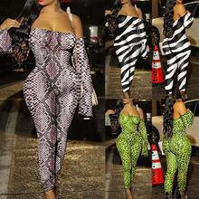 Womens Jumpsuit Off Shoulder Long Sleeve Stretch Animal Print Bodycon Romper Clu