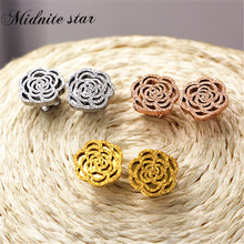 Fashion Top Quality Rose Flower Titanium Steel Earrings New Arrivals Exquisite Stereoscopic For Women