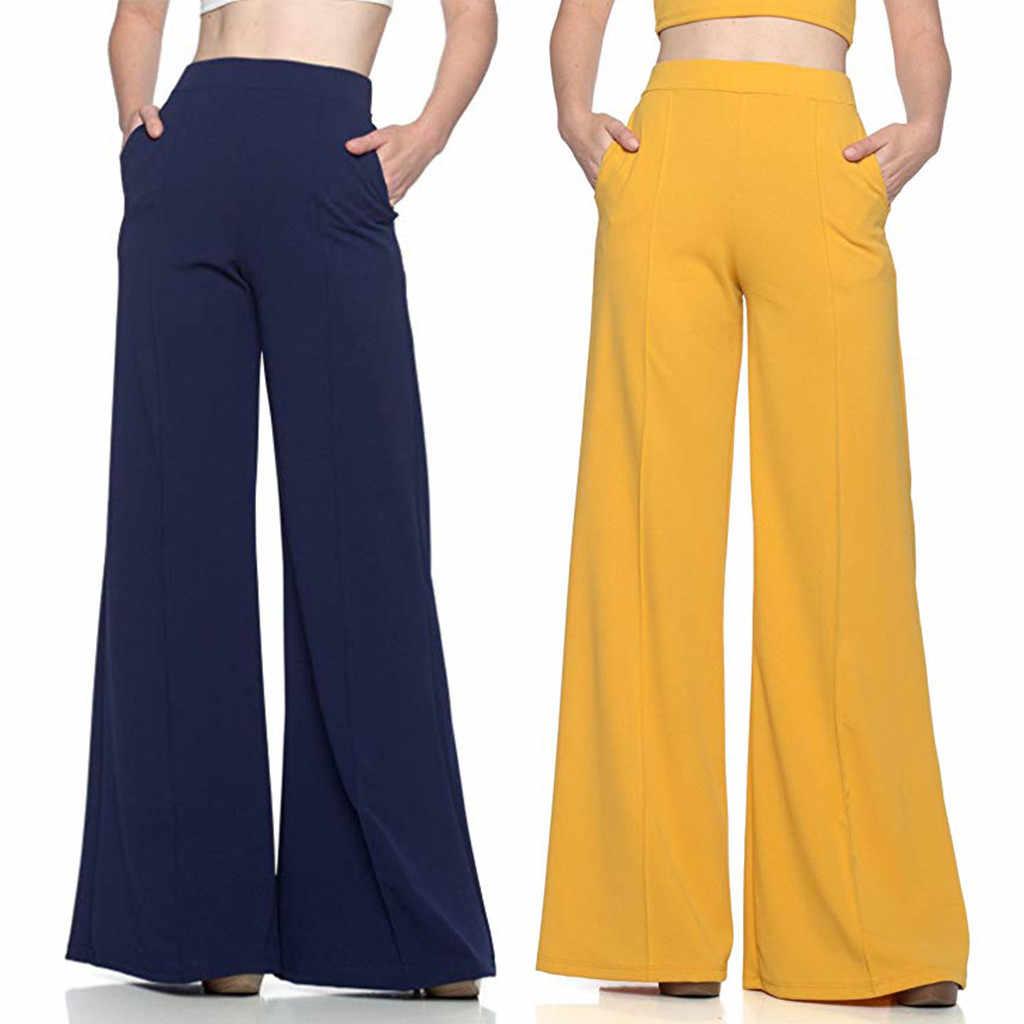 Pantalones Largos De Pierna Ancha Para Mujer De Talla Grande Holgados Elasticos Palazzo Para Oficina Pantalones Y Pantalones Capri Aliexpress