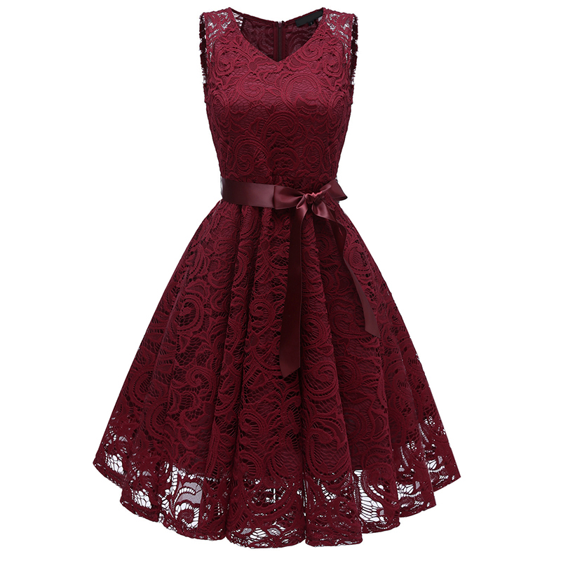 Lace V-Neck Short Graduation Dress New Elegant Homecoming Dress Tea-Length Evening Gowns Formal dress Bow Party Dresses 2019 New