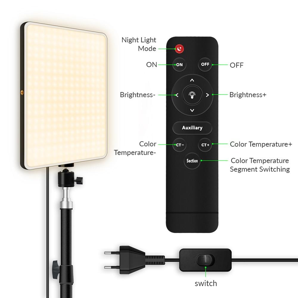 Hb8b87cb483c741f4883ca6a861b8af2ee Dimmable LED Video Light Panel EU Plug 2700k-5700k Photography Lighting For Live Stream Photo Studio Fill Lamp Three Color