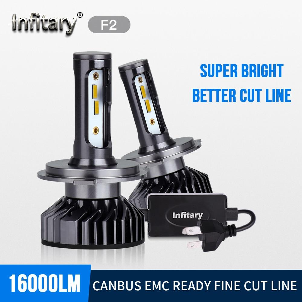 Светодиодные лампы Infitary ZES для автомобильных фар с чипами 1860, H4, H7, H1, H3, H11, 9005, 9006, 3000K, 4500K, 6500K, водонепроницаемая автомобильная лампа с внешним ...