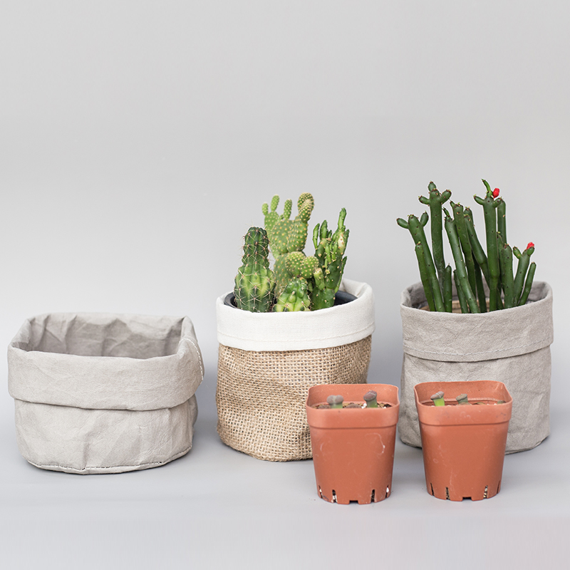 Plant Pot Coat Kraft Paper Flower Pot Cover Waterproof Multifunctional Basket Cosmetic Bag Reusable For Home Decor Garden Bin