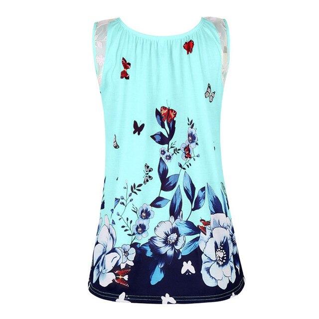 Grande taille 5XL été plage Sexy hauts femmes Boho impression t-shirt décontracté sans manches dentelle Patchwork t-shirts femme 3D papillon t-shirt