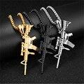 Хип-хоп титановая сталь сплав изысканный стильный ледяной из золотого и серебряного цвета сплав M4 кулоны с оружием ожерелье для мужчин рэпп...