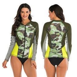 Conjunto de roupa de banho de manga longa feminina rash guard 2 peças-camo impresso zip-up superior com triângulo breve bikini inferior proteção solar