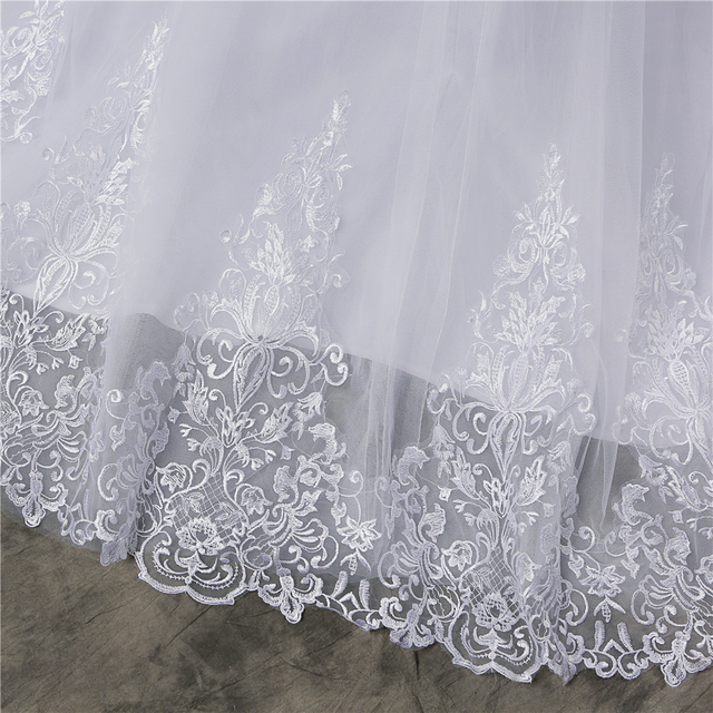 ZJ8150 ZJ9150 2019 2020 new White Ivory Off the Shoulder Wedding Dresses for brides Bottom Lace Big Train with lace edge 6