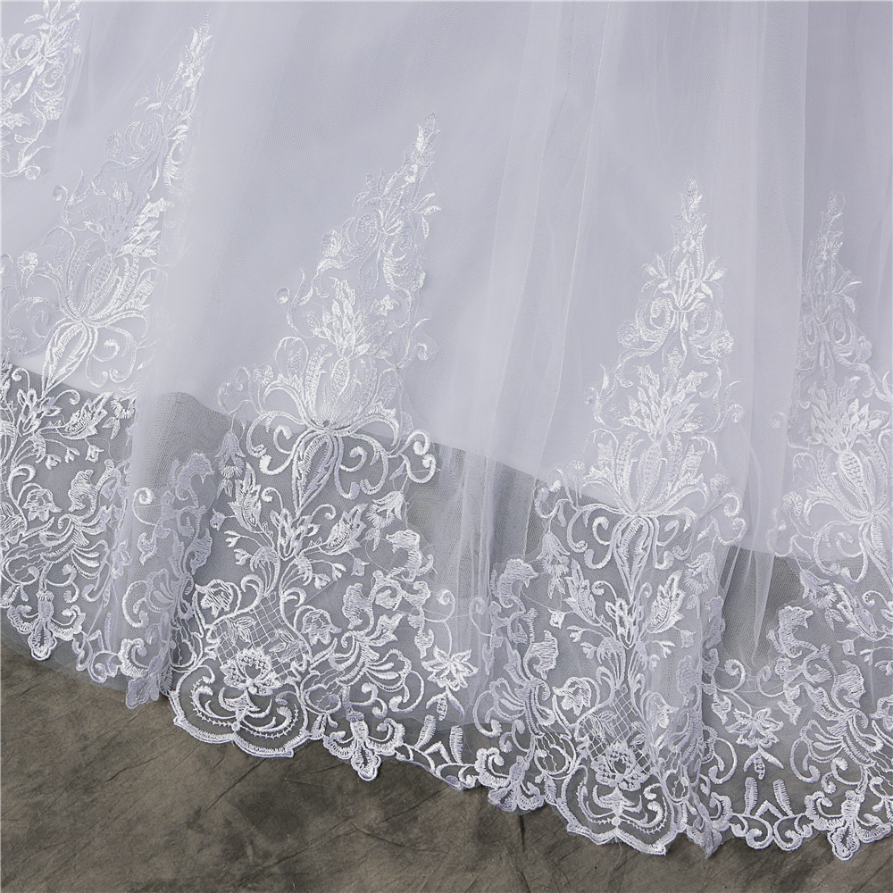 ZJ8150 ZJ9150 2019 2020 new White Ivory Off the Shoulder Wedding Dresses for brides Bottom Lace Big Train with lace edge