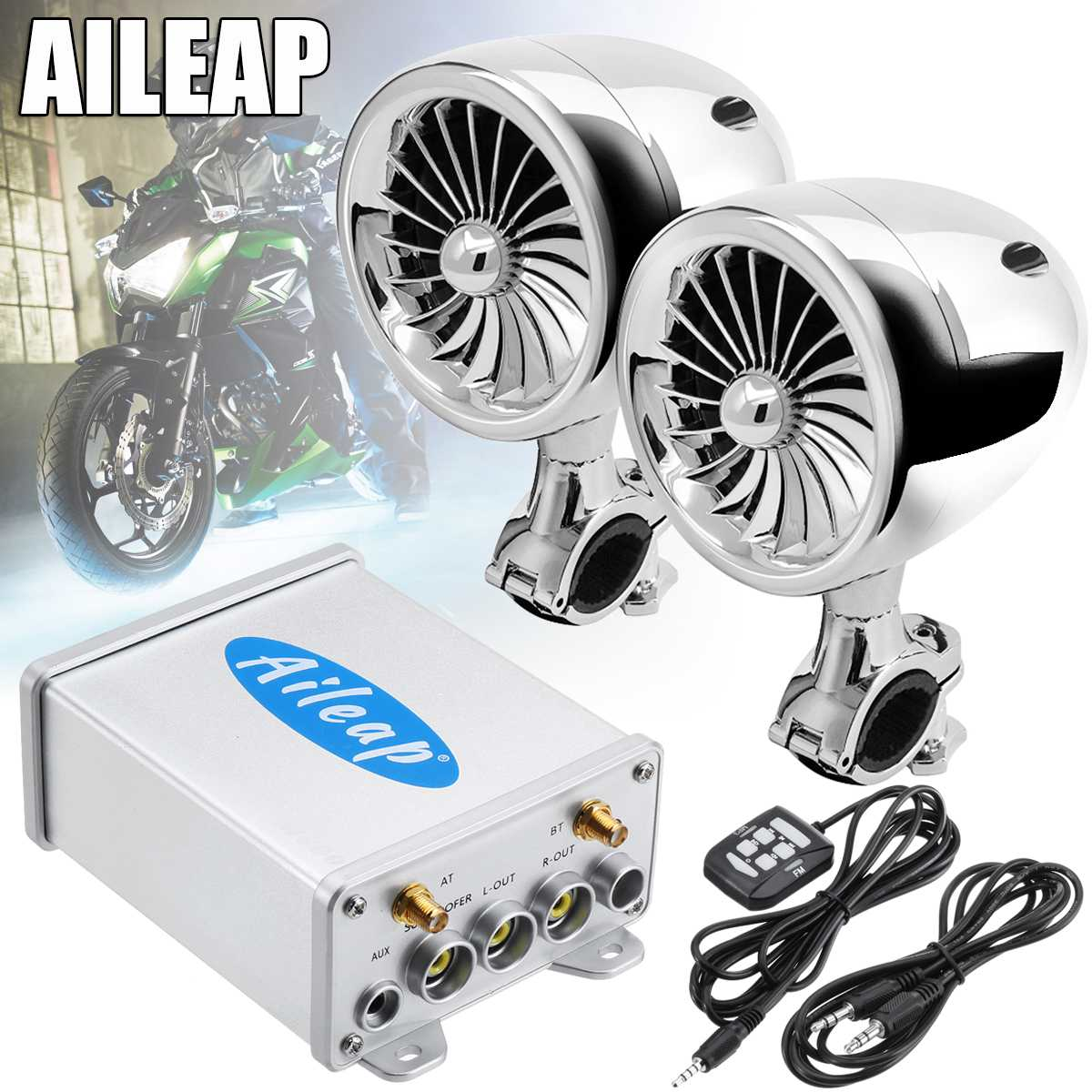 600W Wireless Motorcycle Audio Amplifier bluetooth Motorcycle Speaker  Adjustable ATV Stereo Speaker System AUX Radio