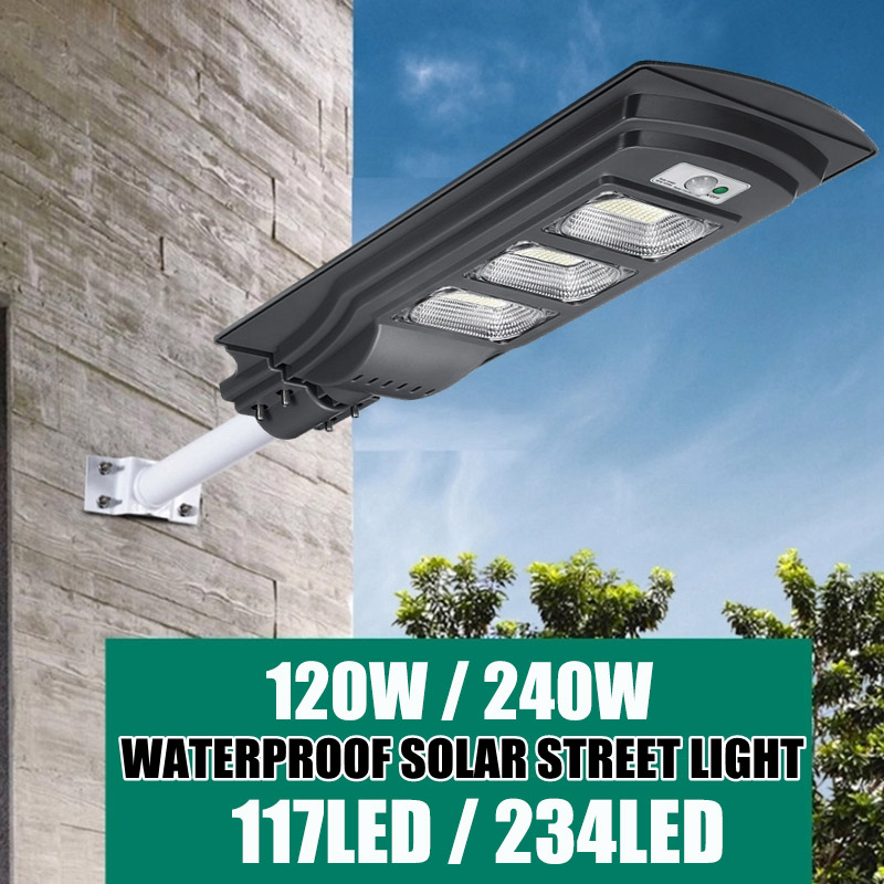 AUGIENB 240W LED Solar Lamp Wall Street Light IP65 Super Bright Radar PIR Motion Sensor Security Lamp For Outdoor Garden Road