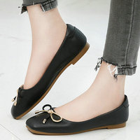 Nice Pop Summer Women Solid Flats Square Toes Lovely Bowtie Shoes Woman For Shopping Office Ladies Career Wild Loafers