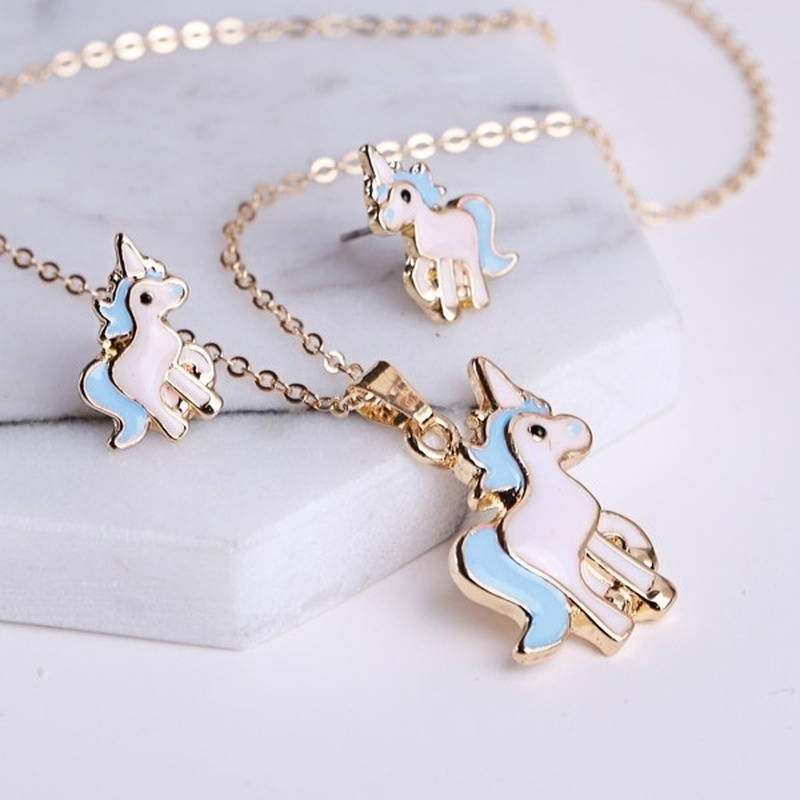 Girls Unicorn Necklace Earring Bracelet Jewelry Set