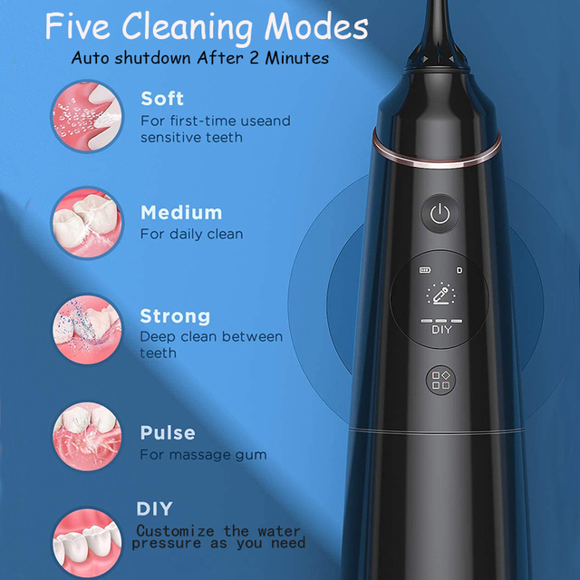 Liberex IPX7 Oral Irrigator Portable Dental Water Jet USB Rechargeable Water Flosser Waterproof Teeth Cleaner for Cleaning Teeth