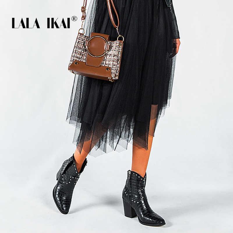LALA IKAI kadınlar siyah yarım çizmeler Pu deri perçin yüksek topuk ayakkabı kadın sonbahar kare topuklu platformu sivri burun bot C5778-4