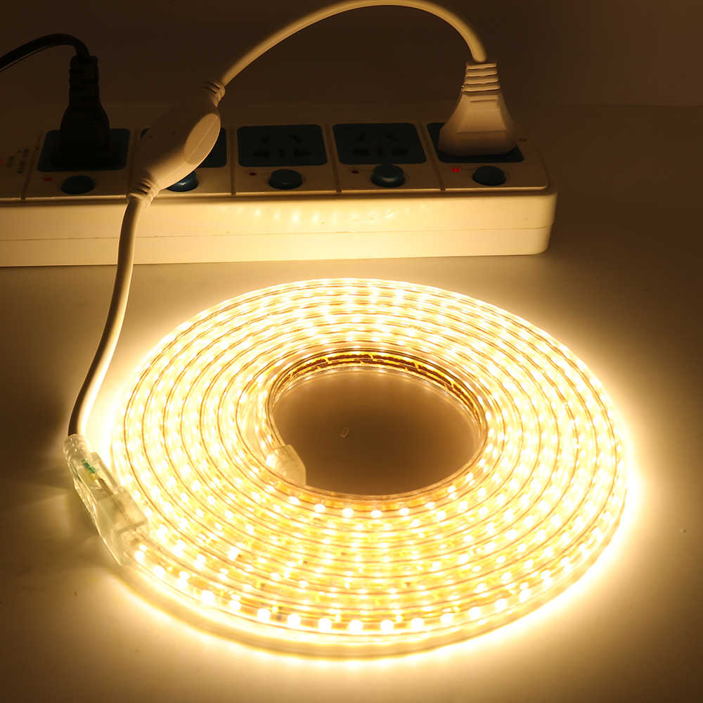 AC 220V 2835 taśma LED SMD 120 diod/m zewnętrzne wodoodporne Led taśma wstążkowa elastyczna taśma LED pasek światła z ściemniacz/przełącznik/Plug