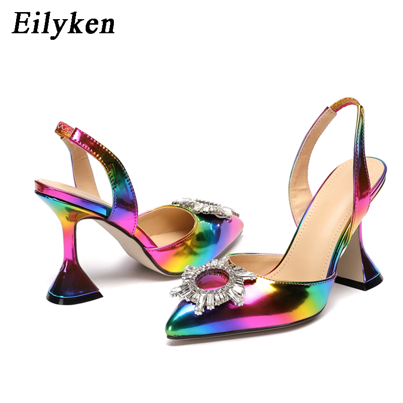 Eilyken Rainbow Color Women Sandals Pointed Toe Sun Style Rhinestone High Heels Weeding Shoes Spike Heel Slingback Pumps