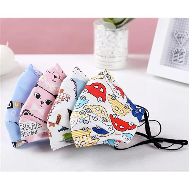 3pcs/set Kids Cartoon Printing Mouth Masks Dustproof Washable PM2.5 Filter Mask Mouth Cover With Filter Pad Clothing Accessories 3