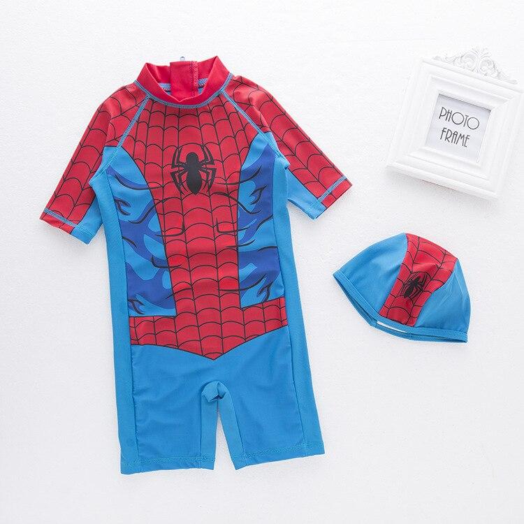 Boys' Cotton One-piece Swimsuit Cartoon Spider Children Beach Swimming Suit Baby Swimwear