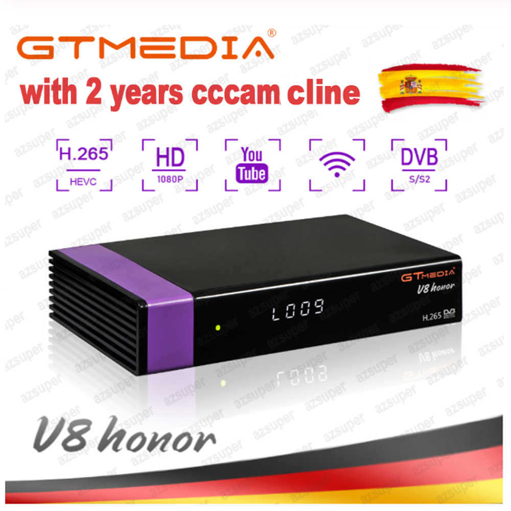Récepteur Satellite GTMedia V8 Honor bult-in WiFi + 1 an Europe Cccam Cline Full HD DVB-S2/S récepteur Freesat V8 NOVA uniquement espagne