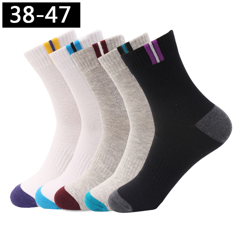 5Pairs/lot Men's Socks Cotton Large Size 44 45 46 47 Business Long Socks Breathable Deodorant Big Size Fashion High Quality