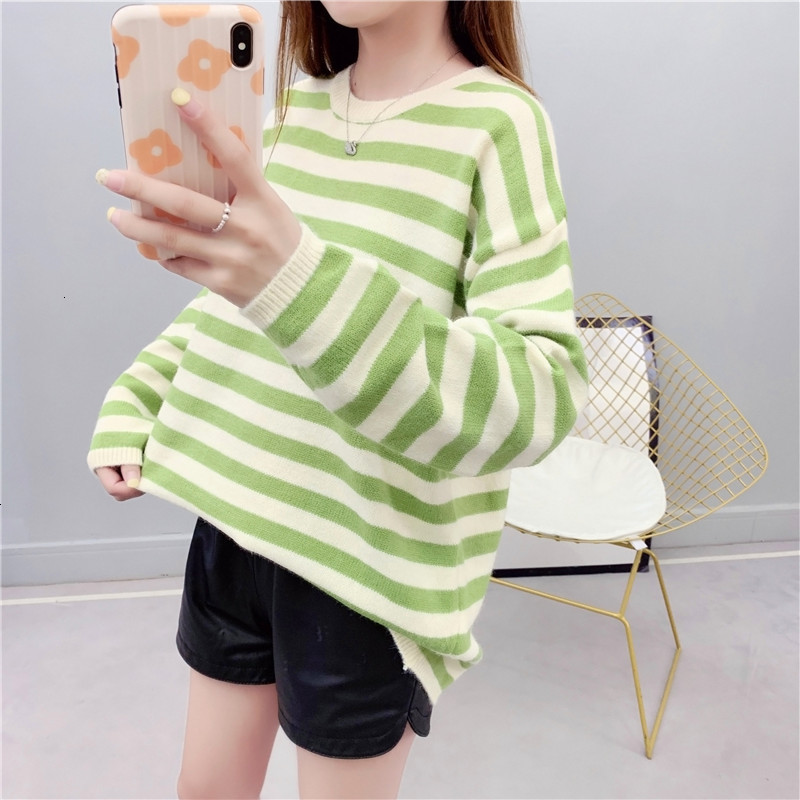 Stripe Harajuku All Match Pull Femme O-Neck Loose Knitted Sweater Pullover Autumn Knitwear Sueter Mujer   Long Sleeve Winter