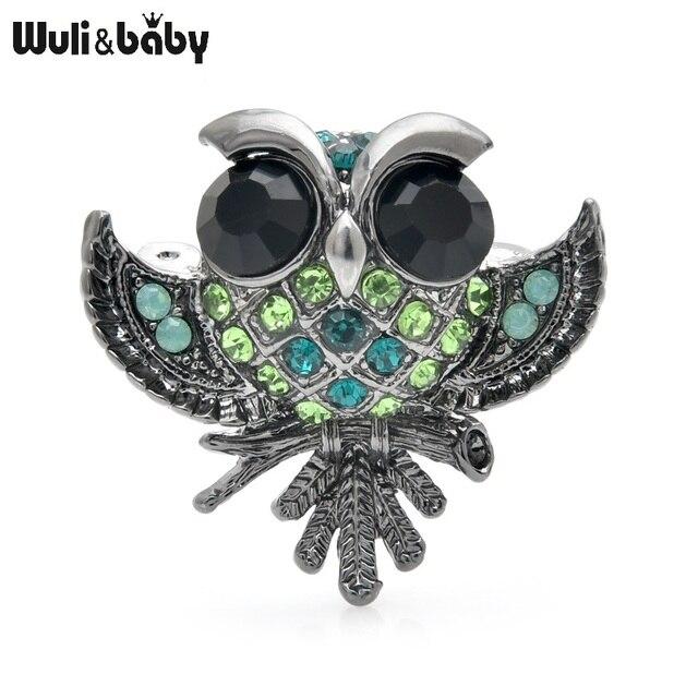 Wuli & bébé petit hibou broches femmes alliage 3 couleurs strass hibou oiseau fête décontracté broche broches cadeaux