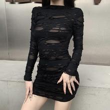 Européenne et américaine rue Rock robe noire gothique Sexy creux Mini robe Punk rétro haute froide à manches longues trou robe mince