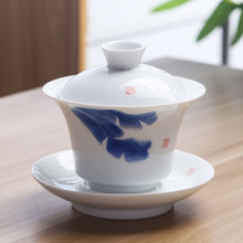 Chinese Hand Painted Tea Set Tureen Dehua High Quality White Porcelain Gaiwan Pot For Travel Fast Cup