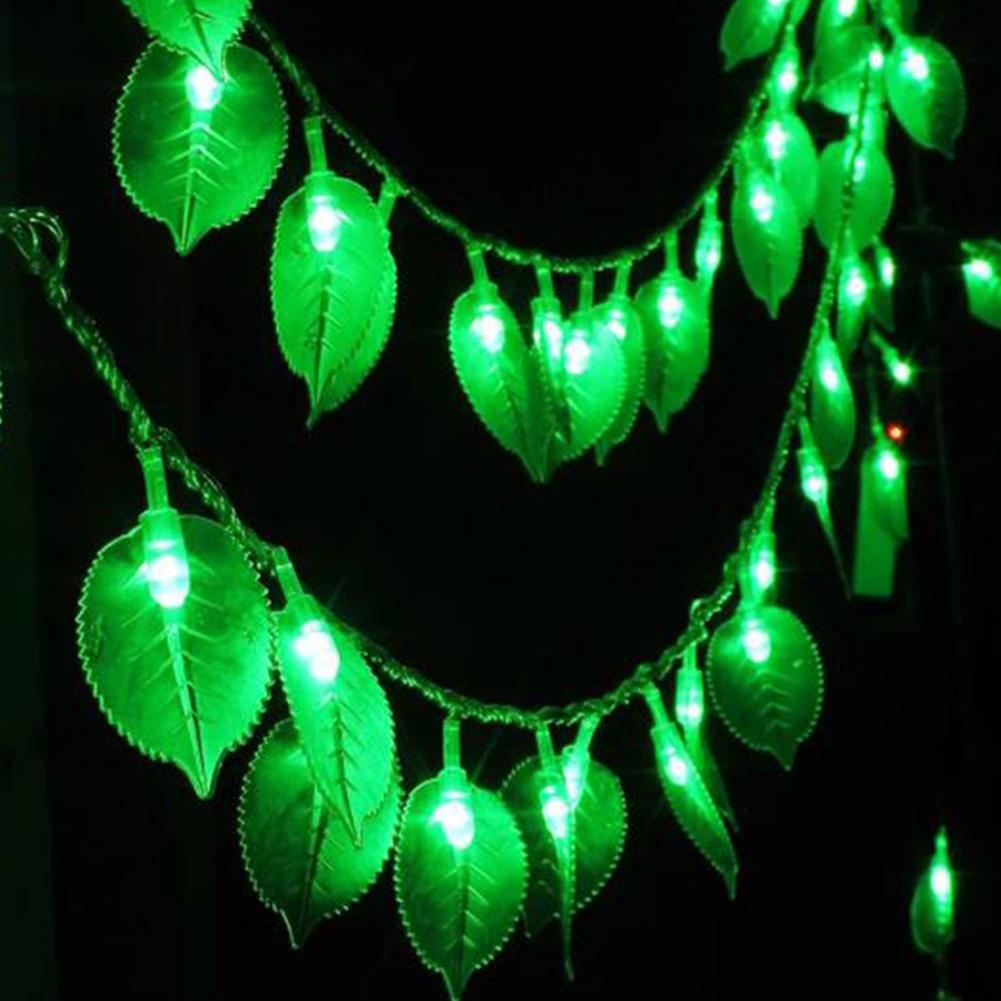 20 LEDs Green Leaf String LED Light Lamp Christmas Garden Holiday Festival Party Decoration Garland Lights Fairy Lighting Lamps