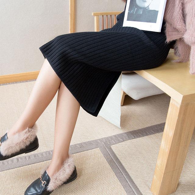 2020 spring and fall Women Long Skirt Elastic Waist Warm Knitted Straight Slim Elegant Black Pencil Skirts faldas jupe femme 3