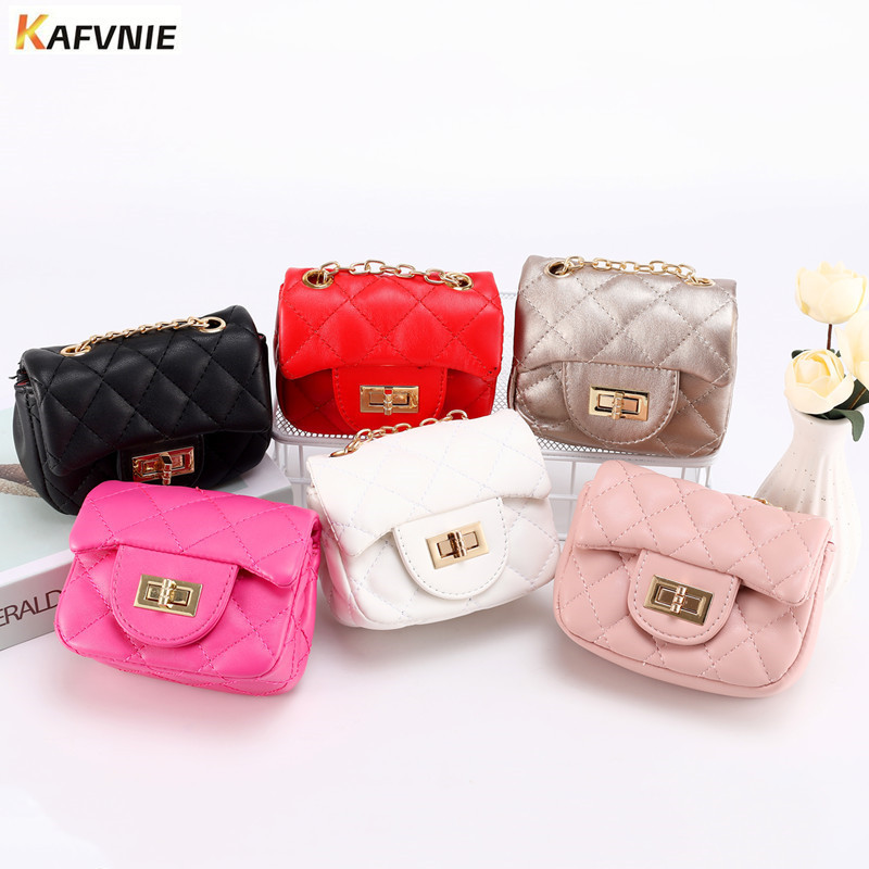 KAFVNIE Mini Children Handbag High End PU Children's Shoulder Bag White Candy Change Bag Kid Evening Party Purse Bags  Wholesale
