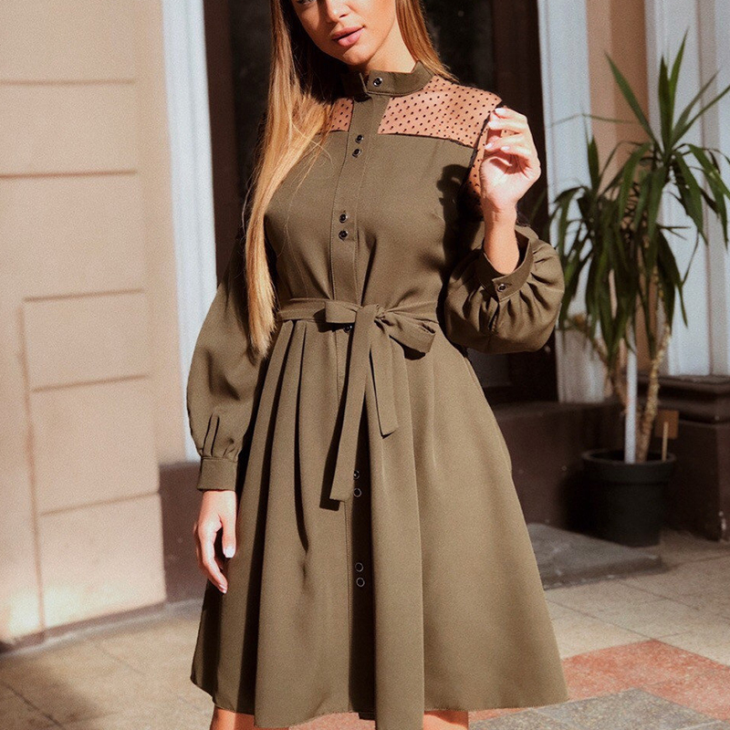 Women Sexy Lace Patchwork A Line Party Dress Ladies Long Puff Sleeve Stand Collar Elegant Dress 2019 Fashion Women Knee Dress
