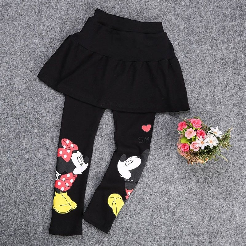 Baby Girl Kids Mickey Minnie Mouse Leggings Slim Fit Pants Trousers Warm 4 Years