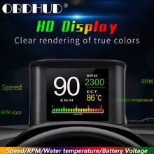 Hud T600 GPS OBD מחשב רכב מהירות מקרן דיגיטלי מד מהירות תצוגת צריכת דלק טמפרטורת מד אבחון כלי