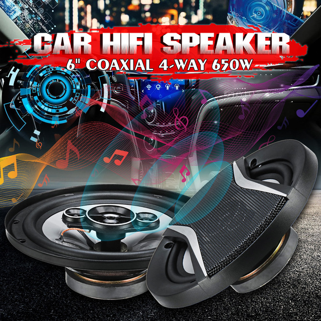 2Pcs 6 אינץ 650W 4 דרך אוניברסלי רכב קואקסיאלי Hifi רמקולים אוטומטי אודיו מוסיקה סטריאו רמקול שאינו הרסניים התקנה