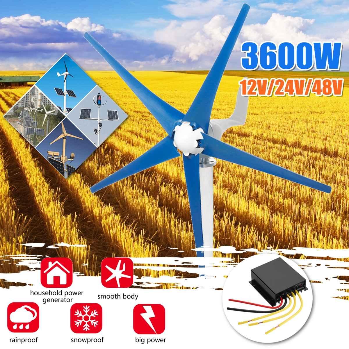 Générateur d'éoliennes à 5 pales 3600W 12/24/48V générateur d'énergie permanente à axe Horizontal pour la maison, le réverbère, l'utilisation de bateau