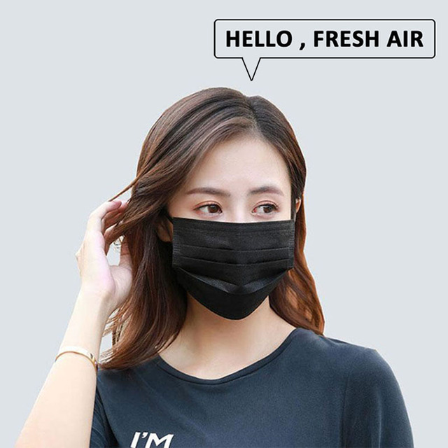 Fast Delivery 50pcs Black Mouth Mask 3-Layers Anti-fog Dust Face Masks Fabric Dustproof Cotton Disposable Non-woven Mouth Cover 5